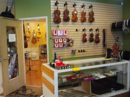 JW Music in Lemoyne, PA let me practice a violin in their studio. I was so happy to touch a violin!