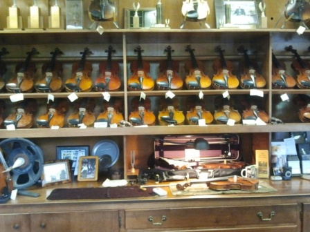 The Chimneys Violin Shop in Boiling Springs, PA let me stop by and choose from all their violins to practice on.